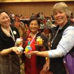 Deb Pun, Pam Miike and Ann LaVin fold my rhombic unit